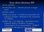 your client discloses dv