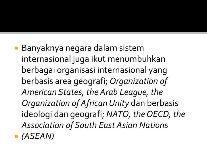 Banyaknya negara dalam sistem internasional juga ikut menumbuhkan berbagai organisasi internasional yang berbasis area geografi;
