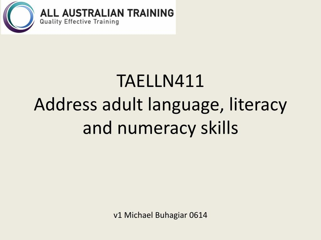 Ppt Taelln411 Address Adult Language Literacy And Numeracy Skills