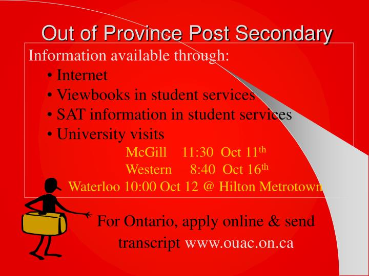 Out of Province Post Secondary