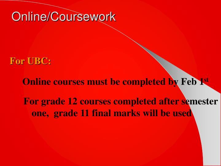 Online/Coursework