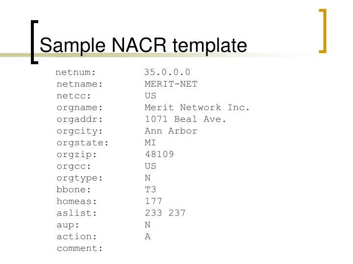 Sample NACR template