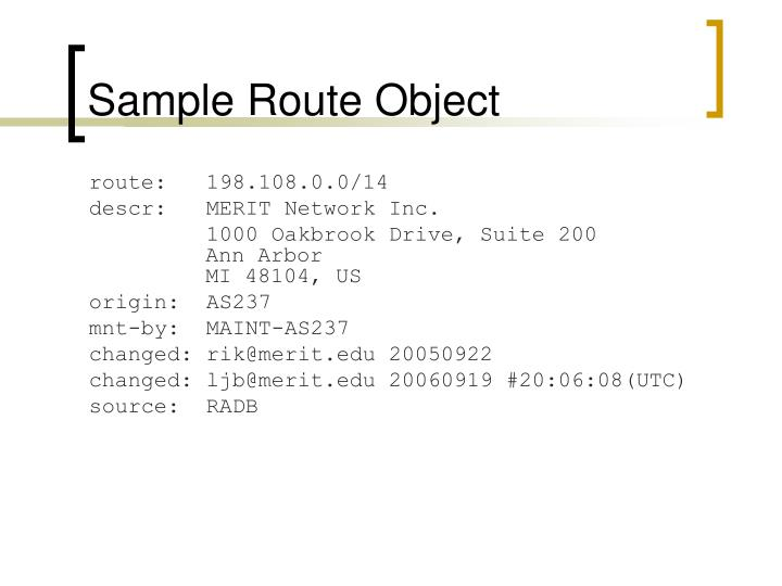 Sample Route Object