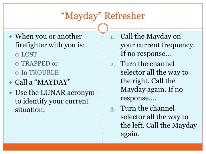 """""""Mayday"""" Refresher"""
