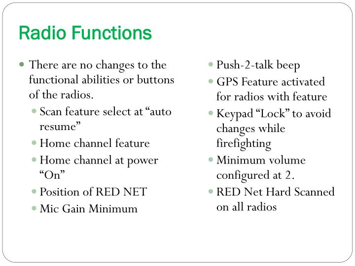 Radio Functions