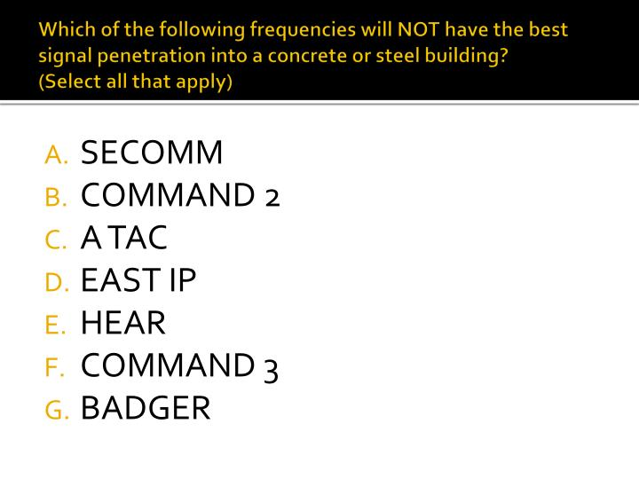 Which of the following frequencies will NOT have the best signal penetration into a concrete or steel building?