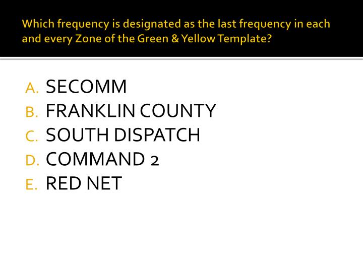 Which frequency is designated as the last frequency in each and every Zone of the Green & Yellow Template?