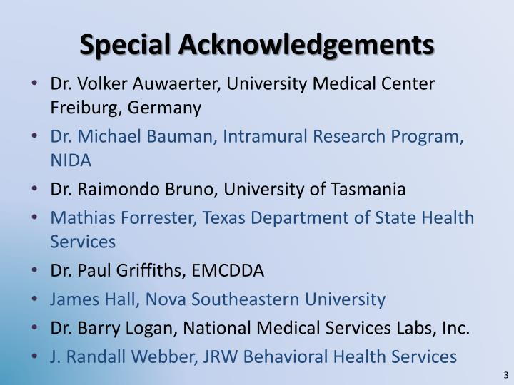 Special acknowledgements