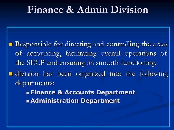 Finance & Admin Division