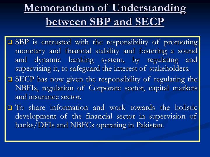 Memorandum of Understanding between SBP and SECP