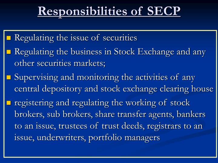Responsibilities of SECP