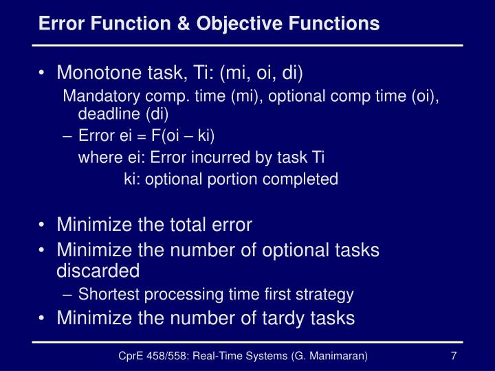 Error Function & Objective Functions