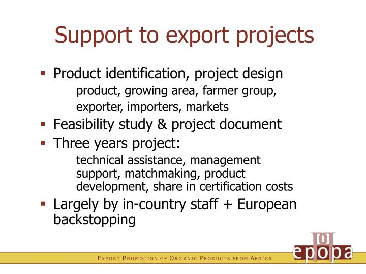 Support to export projects