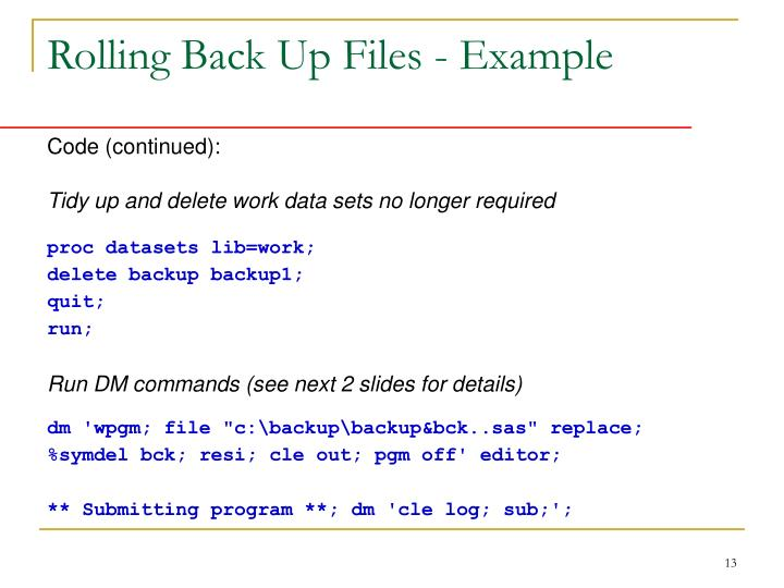 Rolling Back Up Files - Example