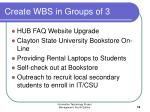 create wbs in groups of 3