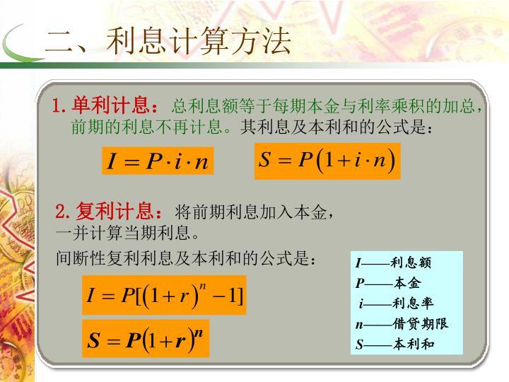 二、利息计算方法