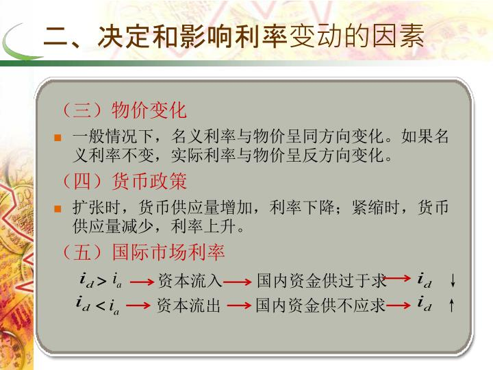 二、决定和影响利率变动的因素