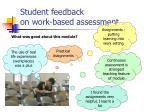 student feedback on work based assessment