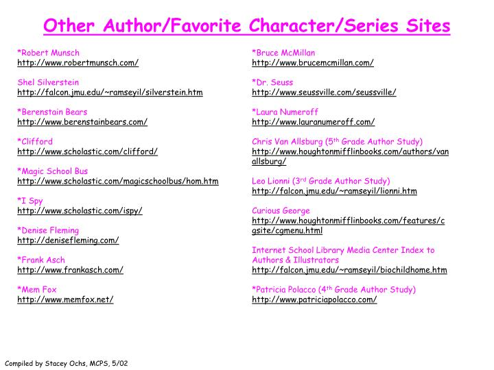 Other Author/Favorite Character/Series Sites