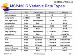msp430 c variable data types