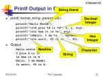 printf output in c