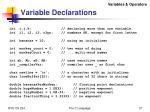 variable declarations