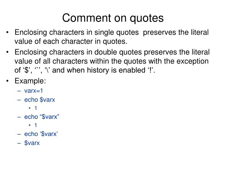 Comment on quotes
