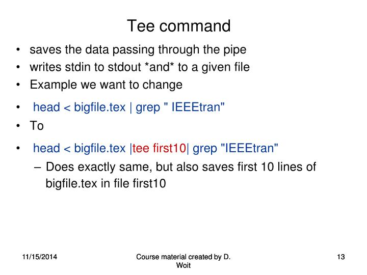 Tee command