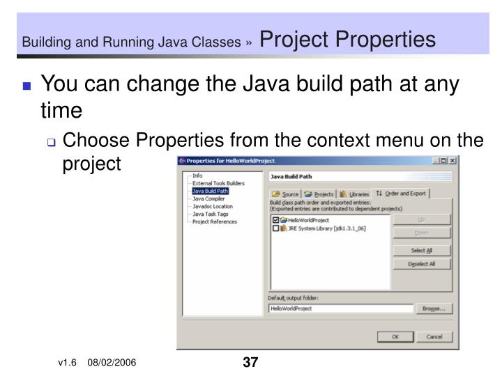 Building and Running Java Classes