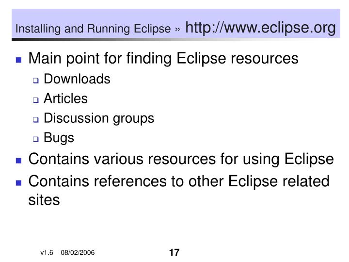 Installing and Running Eclipse