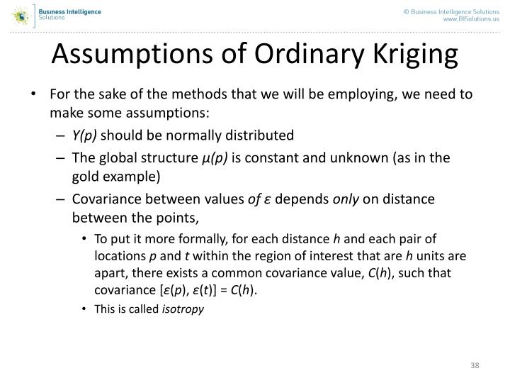 Assumptions of Ordinary Kriging