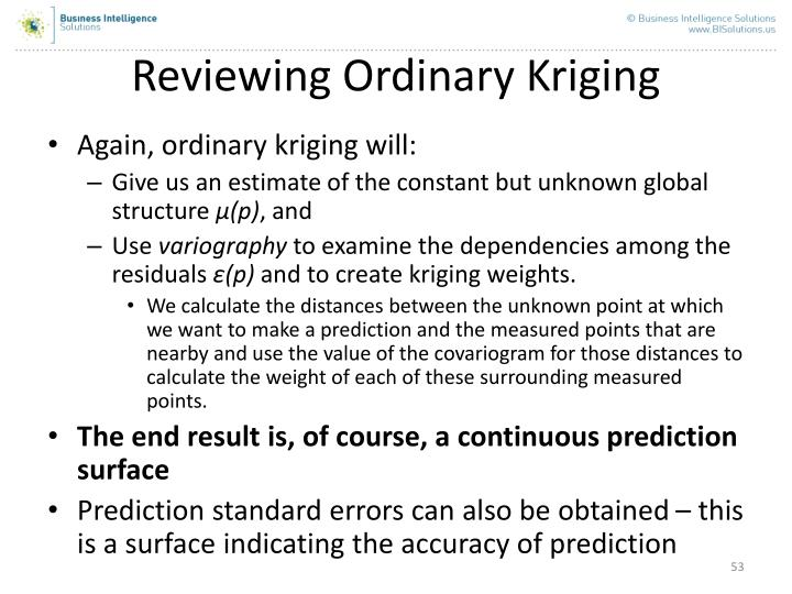 Reviewing Ordinary Kriging
