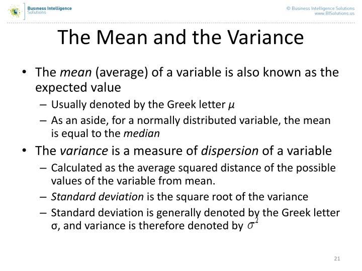 The Mean and the Variance