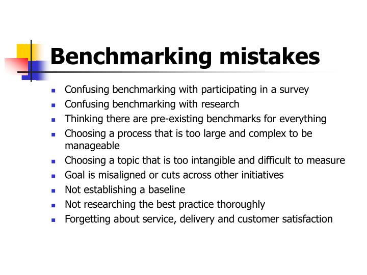 Benchmarking mistakes