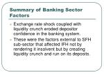 summary of banking sector factors
