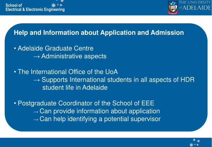 Help and Information about Application and Admission