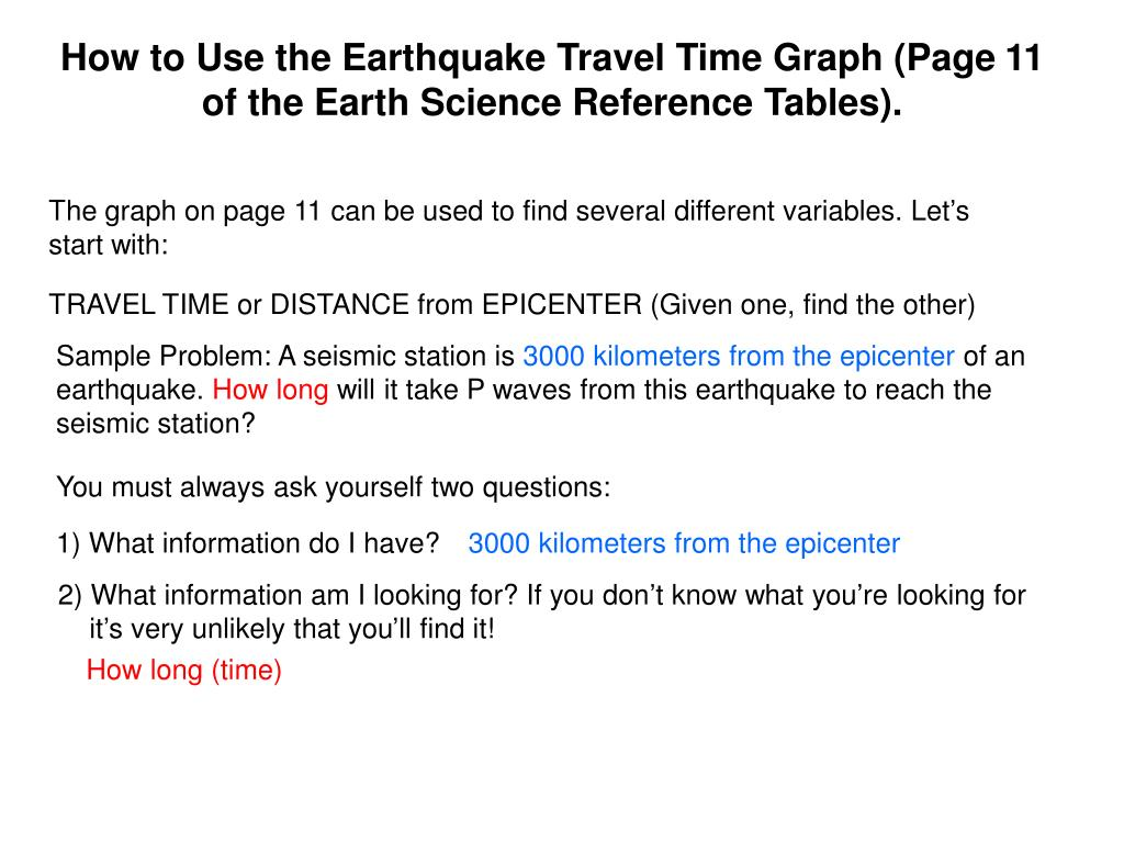 PPT - How to Use the Earthquake Travel Time Graph (Page 11