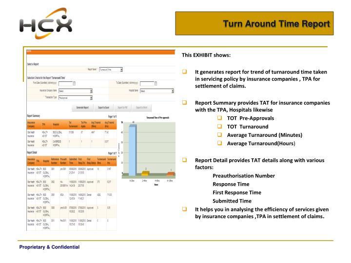 Turn Around Time Report