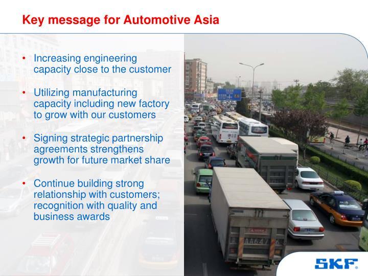 Key message for Automotive Asia
