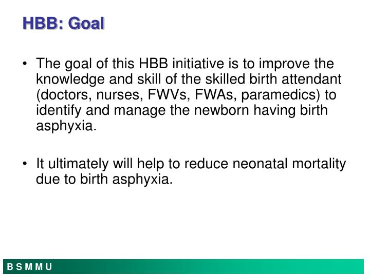 The goal of this HBB initiative is to improve the knowledge and skill of the skilled birth attendant (doctors, nurses, FWVs, FWAs, paramedics) to identify and manage the newborn having birth asphyxia.