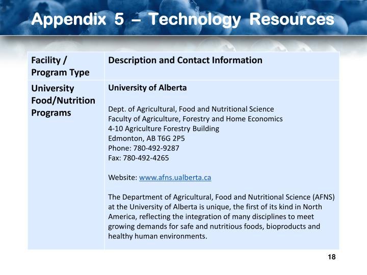 Appendix  5  –  Technology  Resources