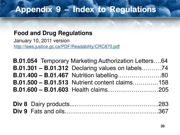 Appendix  9  –  Index  to  Regulations