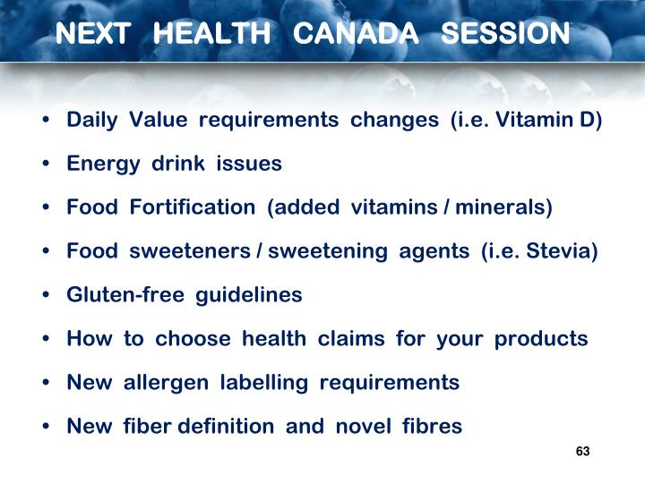 NEXT   HEALTH   CANADA   SESSION