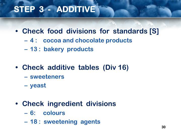 STEP  3  -   ADDITIVE