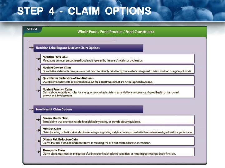 STEP  4  -  CLAIM  OPTIONS