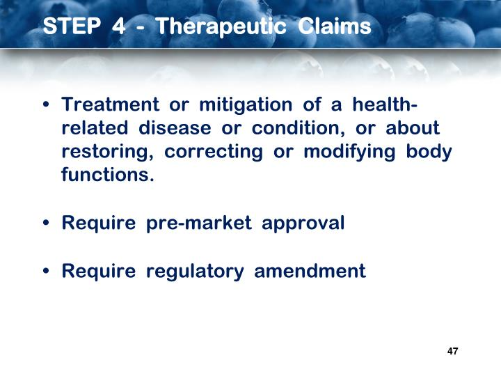 STEP  4  -  Therapeutic  Claims