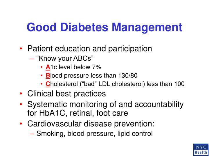 Good Diabetes Management