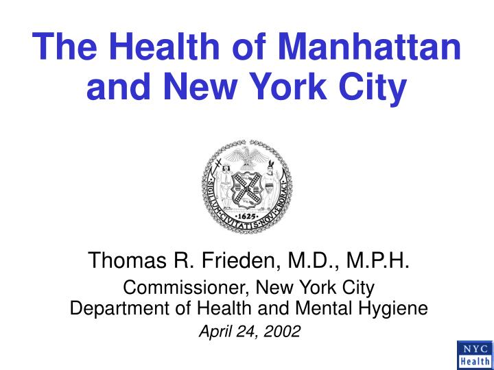 the health of manhattan and new york city n.