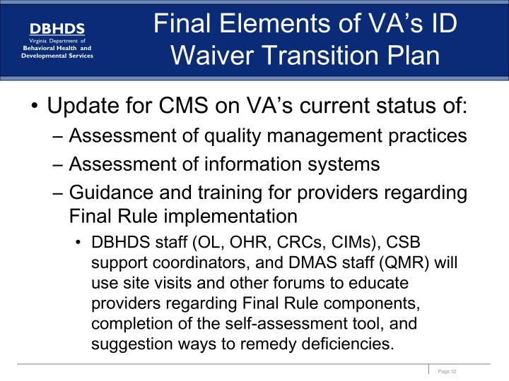 Final Elements of VA's ID Waiver Transition Plan