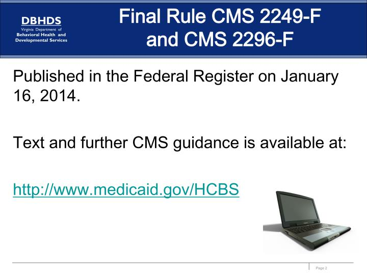 Final rule cms 2249 f and cms 2296 f